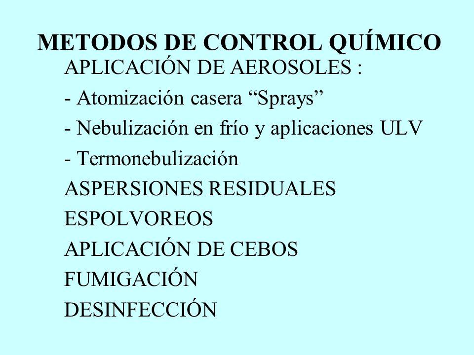 METODOS DE CONTROL QUÍMICO APLICACIÓN DE AEROSOLES : - Atomización casera Sprays - Nebulización en frío y aplicaciones ULV - Termonebulización ASPERSI