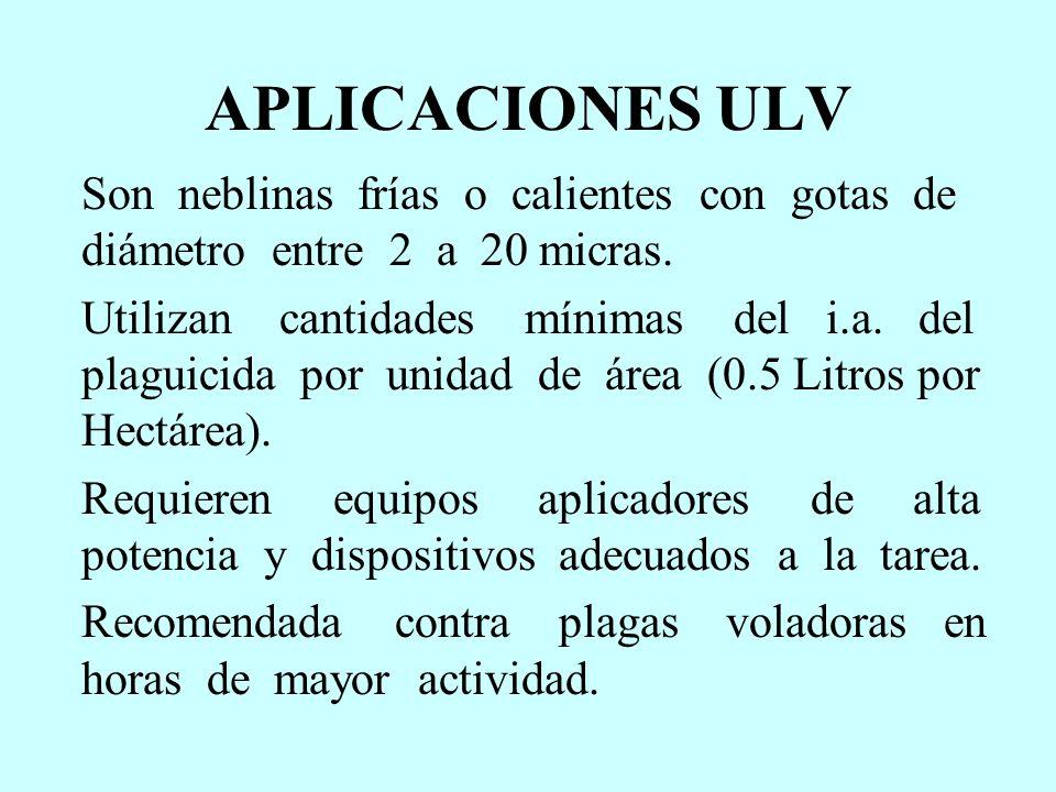 APLICACIONES ULV Son neblinas frías o calientes con gotas de diámetro entre 2 a 20 micras. Utilizan cantidades mínimas del i.a. del plaguicida por uni