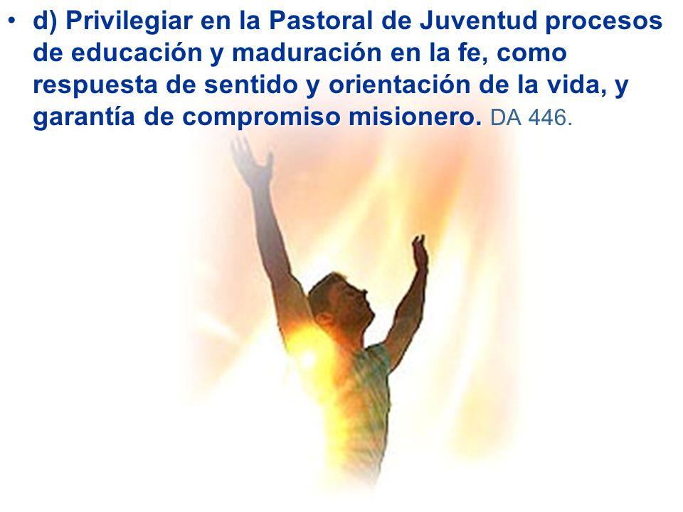 d)d) Privilegiar en la Pastoral de Juventud procesos de educación y maduración en la fe, como respuesta de sentido y orientación de la vida, y garantía de compromiso misionero.