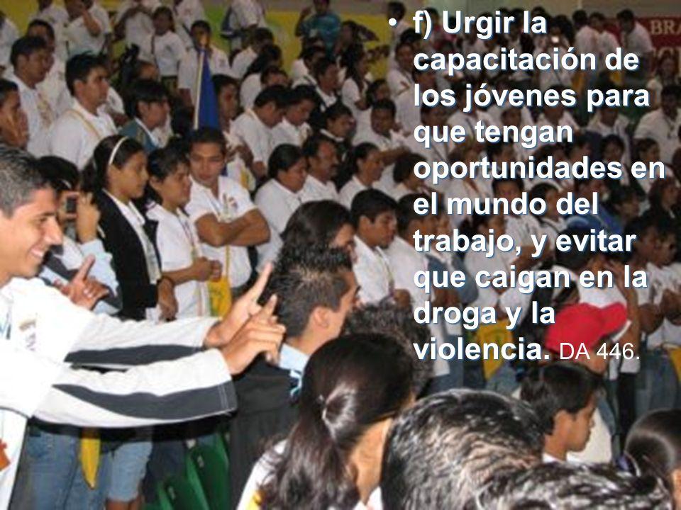 f)f) Urgir la capacitación de los jóvenes para que tengan oportunidades en el mundo del trabajo, y evitar que caigan en la droga y la violencia.