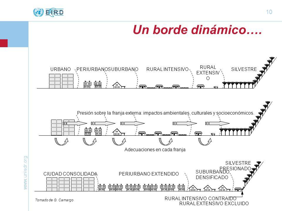 www.unisdr.org 10 URBANOPERIURBANOSUBURBANORURAL INTENSIVO RURAL EXTENSIV O SILVESTRE Un borde dinámico….