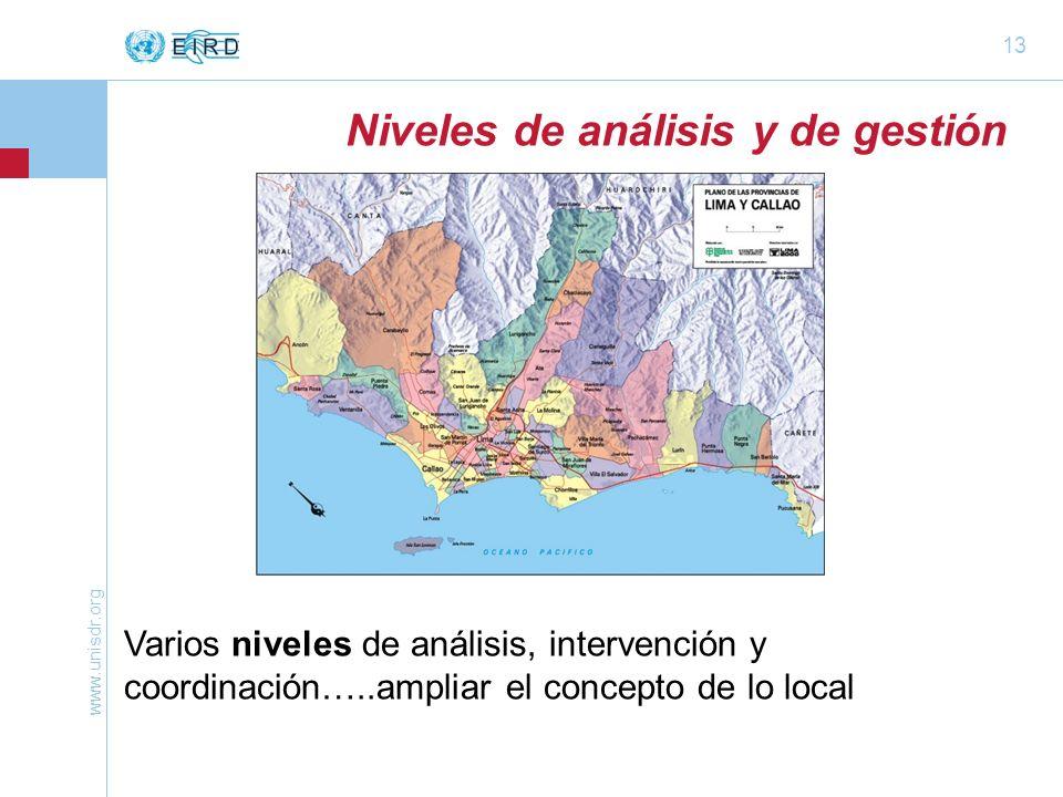 www.unisdr.org 13 Niveles de análisis y de gestión Varios niveles de análisis, intervención y coordinación…..ampliar el concepto de lo local