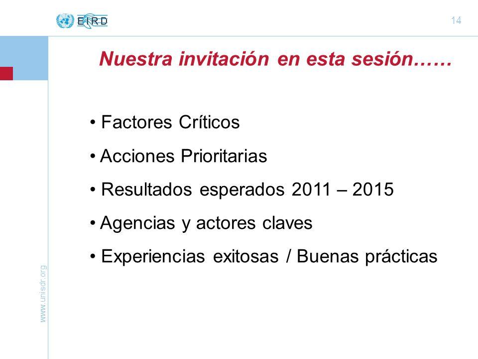 www.unisdr.org 14 Nuestra invitación en esta sesión…… Factores Críticos Acciones Prioritarias Resultados esperados 2011 – 2015 Agencias y actores claves Experiencias exitosas / Buenas prácticas