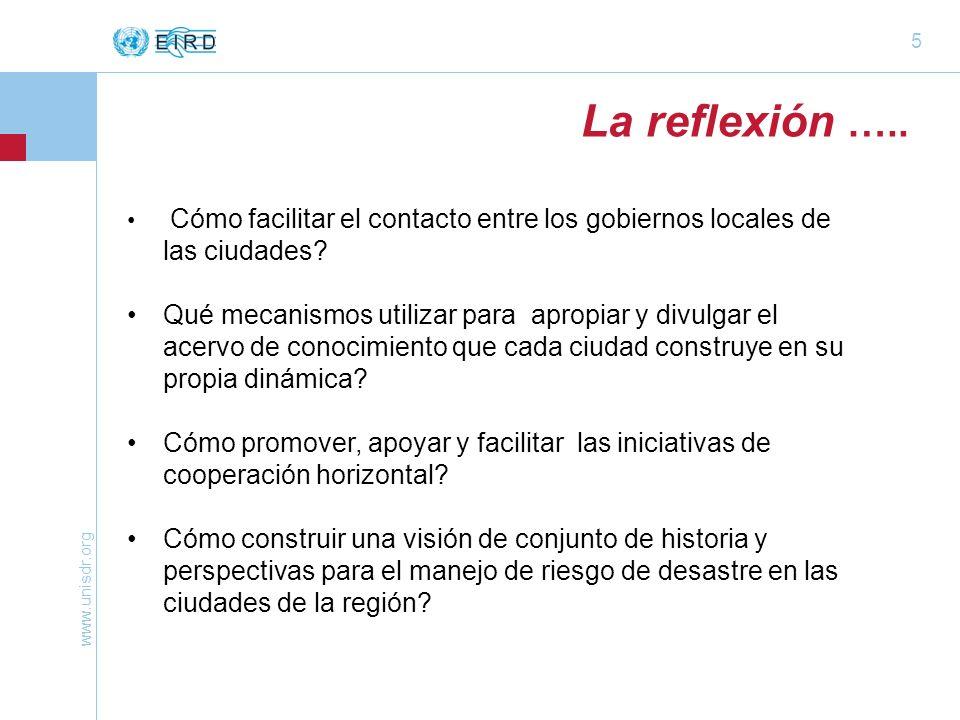 www.unisdr.org 5 La reflexión ….. Cómo facilitar el contacto entre los gobiernos locales de las ciudades? Qué mecanismos utilizar para apropiar y divu