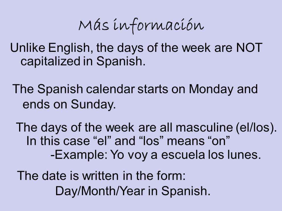 Preguntas Importantes ¿Cuántos días hay en una semana.