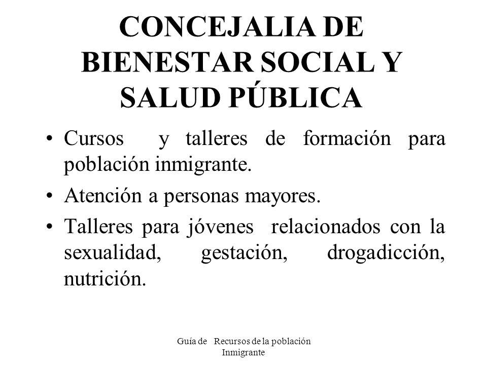 Guía de Recursos de la población Inmigrante CONCEJALIA DE BIENESTAR SOCIAL Y SALUD PÚBLICA Cursos y talleres de formación para población inmigrante. A