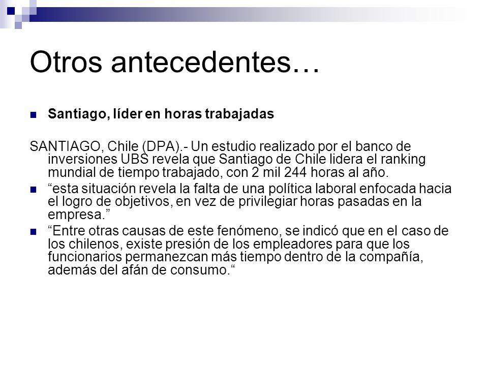Otros antecedentes… Santiago, líder en horas trabajadas SANTIAGO, Chile (DPA).- Un estudio realizado por el banco de inversiones UBS revela que Santiago de Chile lidera el ranking mundial de tiempo trabajado, con 2 mil 244 horas al año.