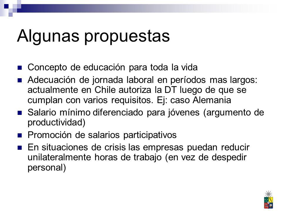 Algunas propuestas Concepto de educación para toda la vida Adecuación de jornada laboral en períodos mas largos: actualmente en Chile autoriza la DT luego de que se cumplan con varios requisitos.