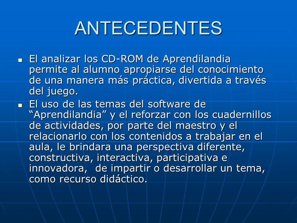 ANTECEDENTES El analizar los CD-ROM de Aprendilandia permite al alumno apropiarse del conocimiento de una manera más práctica, divertida a través del