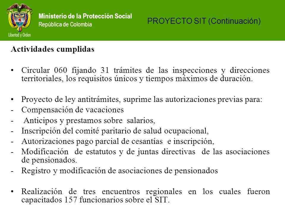 Ministerio de la Protección Social República de Colombia Actividades cumplidas Circular 060 fijando 31 trámites de las inspecciones y direcciones terr