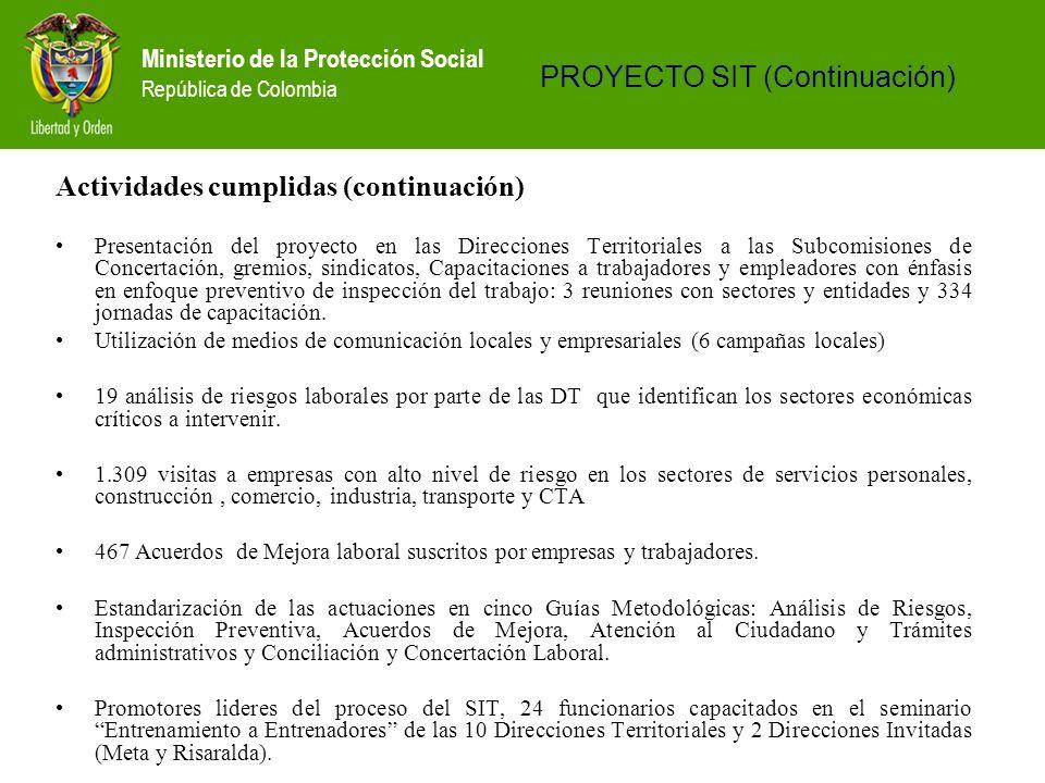 Ministerio de la Protección Social República de Colombia Actividades cumplidas (continuación) Presentación del proyecto en las Direcciones Territorial