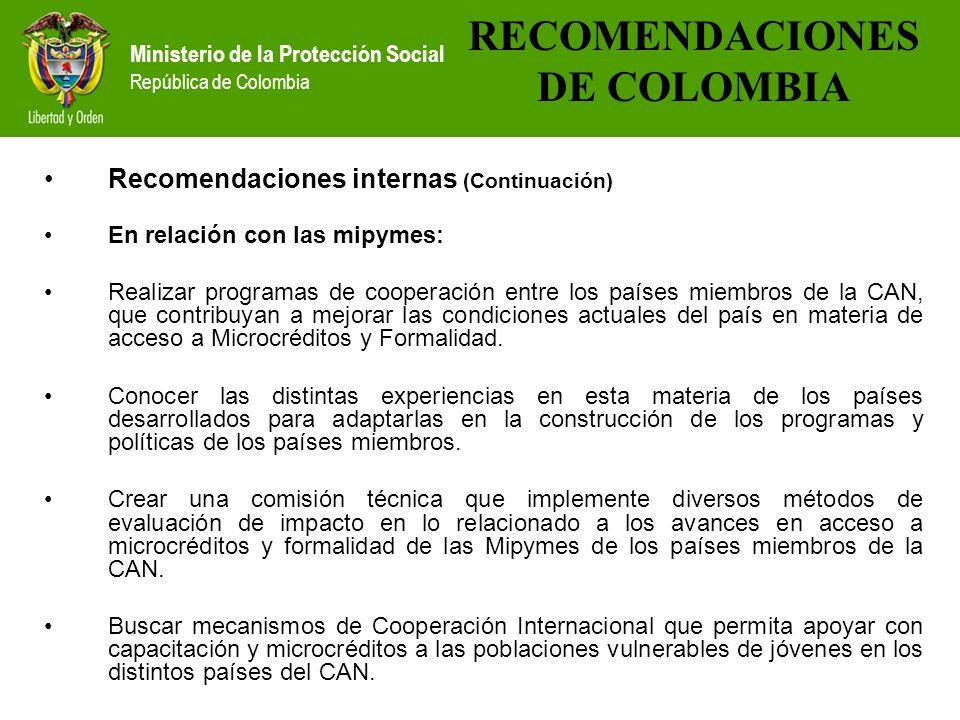 Ministerio de la Protección Social República de Colombia Recomendaciones internas (Continuación) En relación con las mipymes: Realizar programas de co