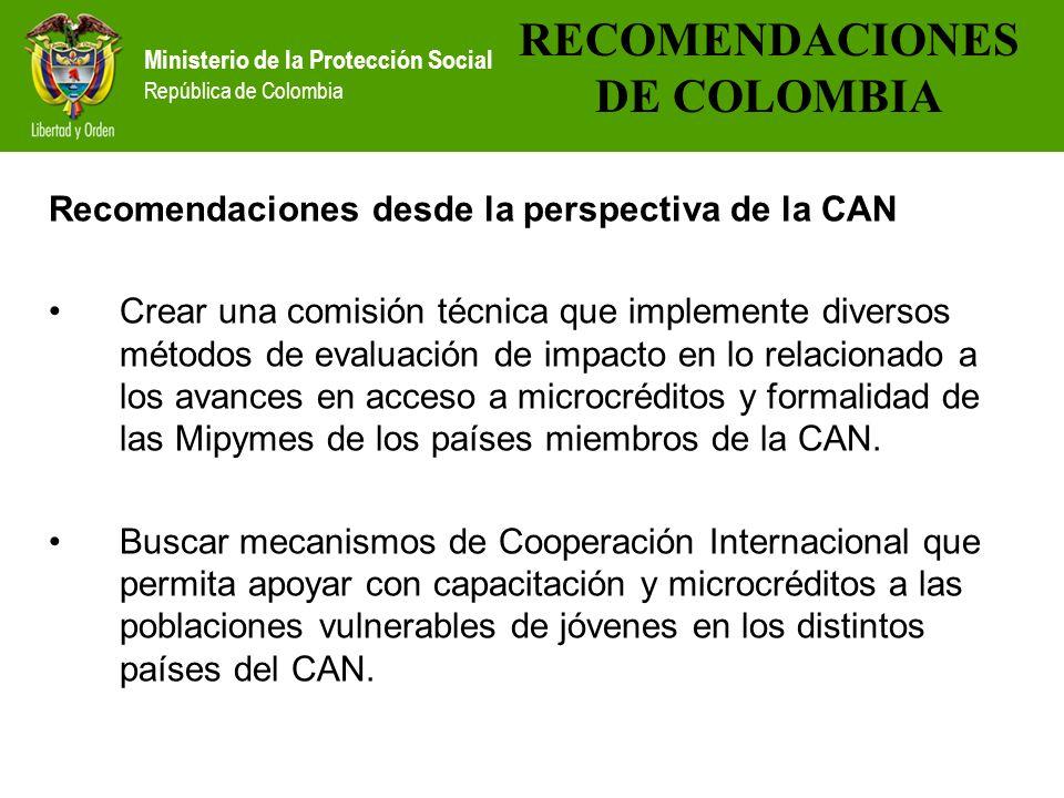 Ministerio de la Protección Social República de Colombia Recomendaciones desde la perspectiva de la CAN Crear una comisión técnica que implemente dive