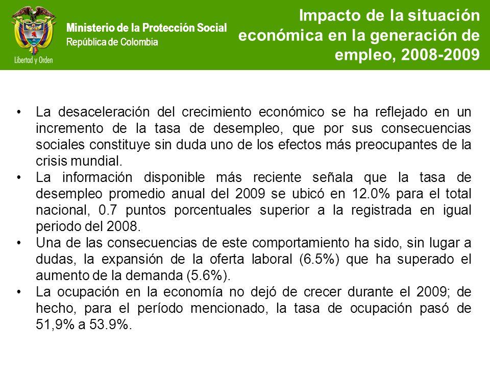 Ministerio de la Protección Social República de Colombia Impacto de la situación económica en la generación de empleo, 2008-2009 La ocupación por ramas de actividad económica durante el periodo 2008-2009, muestra un crecimiento del 5.61%.