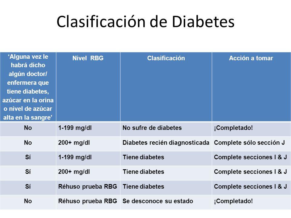 Clasificación de Diabetes Alguna vez le habrá dicho algún doctor/ enfermera que tiene diabetes, azúcar en la orina o nivel de azúcar alta en la sangre