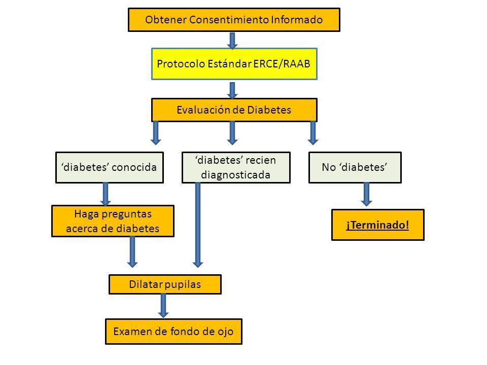 Obtener Consentimiento Informado Evaluación de Diabetes diabetes conocidaNo diabetes ¡Terminado! diabetes recien diagnosticada Haga preguntas acerca d
