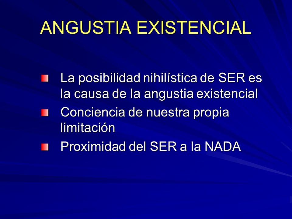 ANGUSTIA EXISTENCIAL La posibilidad nihilística de SER es la causa de la angustia existencial Conciencia de nuestra propia limitación Proximidad del S