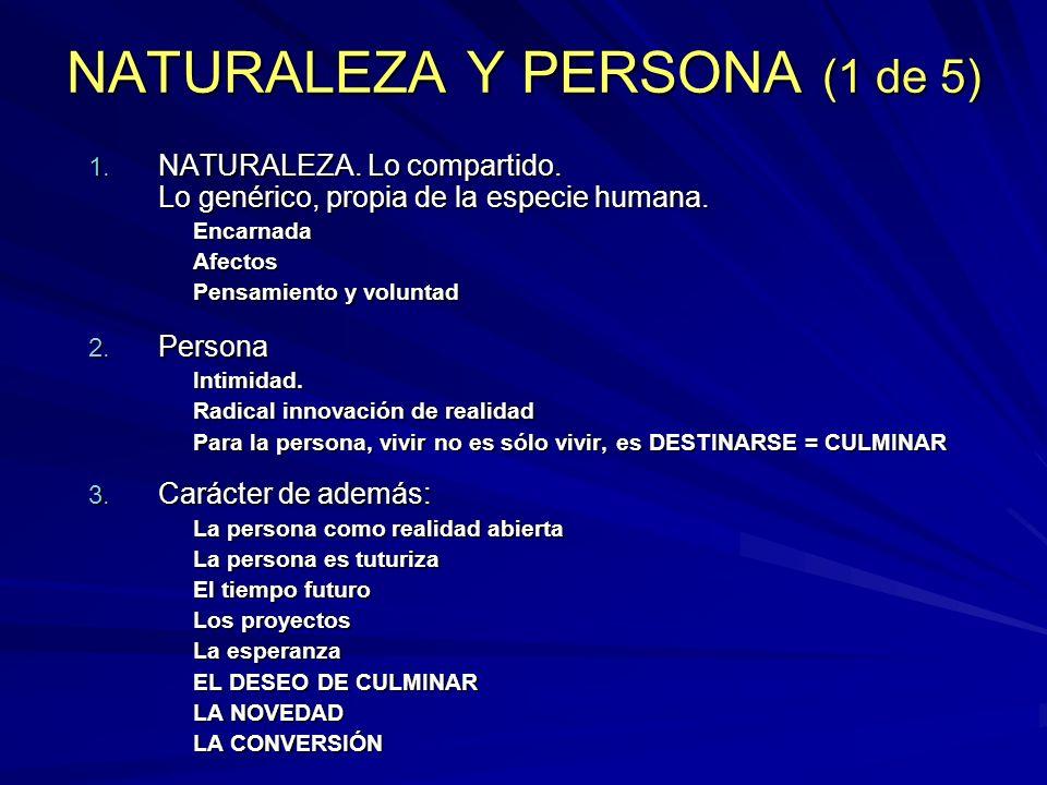 NATURALEZA Y PERSONA (1 de 5) 1. NATURALEZA. Lo compartido. Lo genérico, propia de la especie humana. EncarnadaAfectos Pensamiento y voluntad 2. Perso