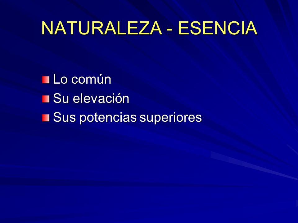 NATURALEZA - ESENCIA Lo común Su elevación Sus potencias superiores