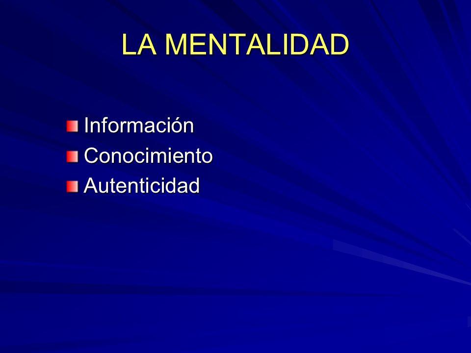 LA MENTALIDAD InformaciónConocimientoAutenticidad