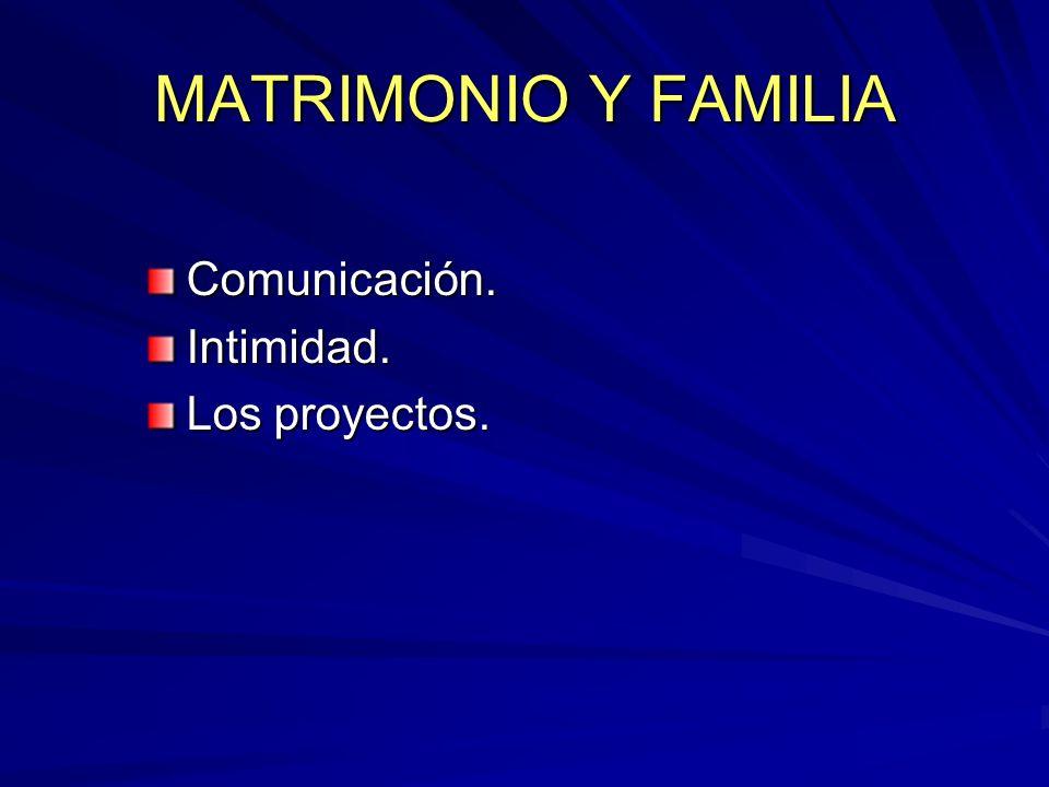 MATRIMONIO Y FAMILIA Comunicación.Intimidad. Los proyectos.