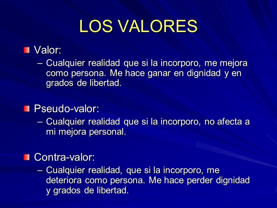 LOS VALORES Valor: –Cualquier realidad que si la incorporo, me mejora como persona. Me hace ganar en dignidad y en grados de libertad. Pseudo-valor: –