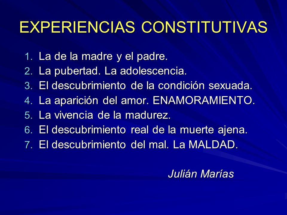 EXPERIENCIAS CONSTITUTIVAS 1. La de la madre y el padre. 2. La pubertad. La adolescencia. 3. El descubrimiento de la condición sexuada. 4. La aparició