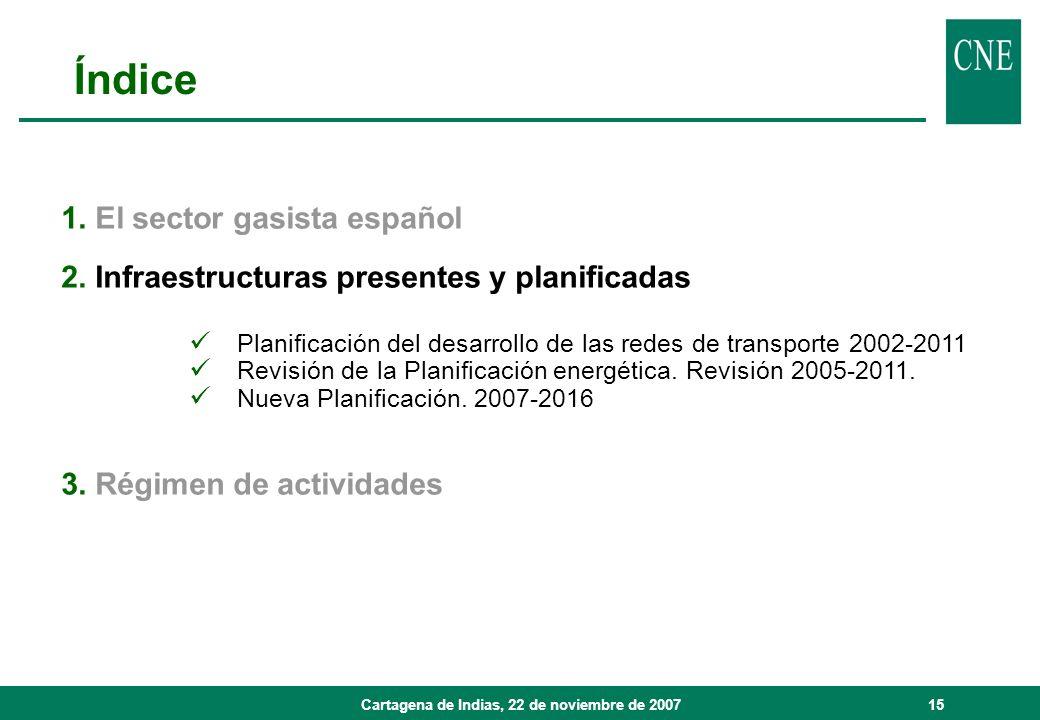 Cartagena de Indias, 22 de noviembre de 200715 1. El sector gasista español 2. Infraestructuras presentes y planificadas Planificación del desarrollo