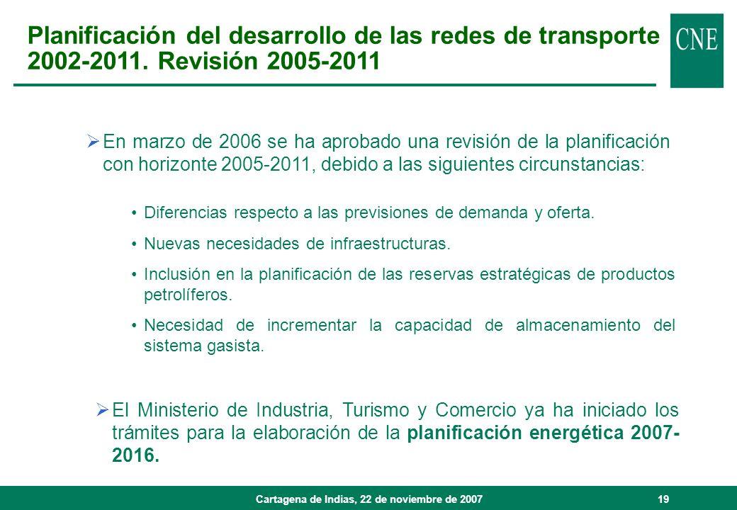Cartagena de Indias, 22 de noviembre de 200719 Planificación del desarrollo de las redes de transporte 2002-2011. Revisión 2005-2011 Diferencias respe