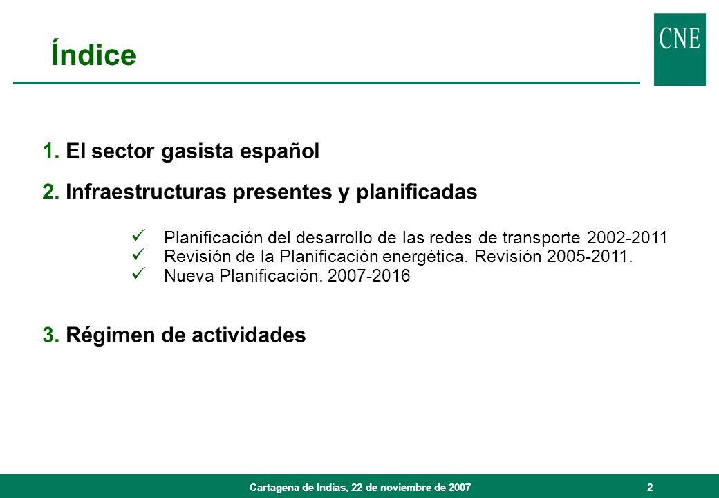 Cartagena de Indias, 22 de noviembre de 20072 1. El sector gasista español 2. Infraestructuras presentes y planificadas Planificación del desarrollo d