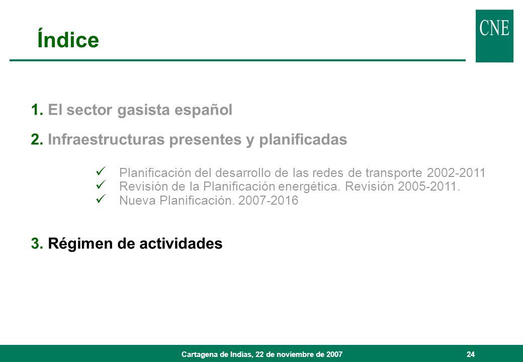 Cartagena de Indias, 22 de noviembre de 200724 1. El sector gasista español 2. Infraestructuras presentes y planificadas Planificación del desarrollo