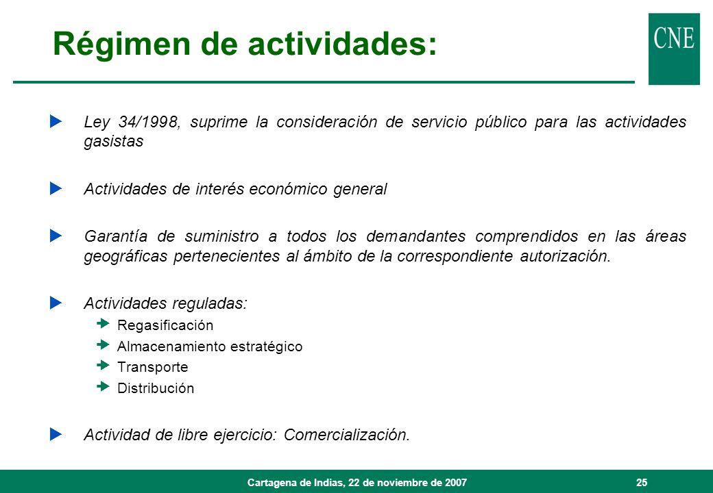 Cartagena de Indias, 22 de noviembre de 200725 Régimen de actividades: Ley 34/1998, suprime la consideración de servicio público para las actividades