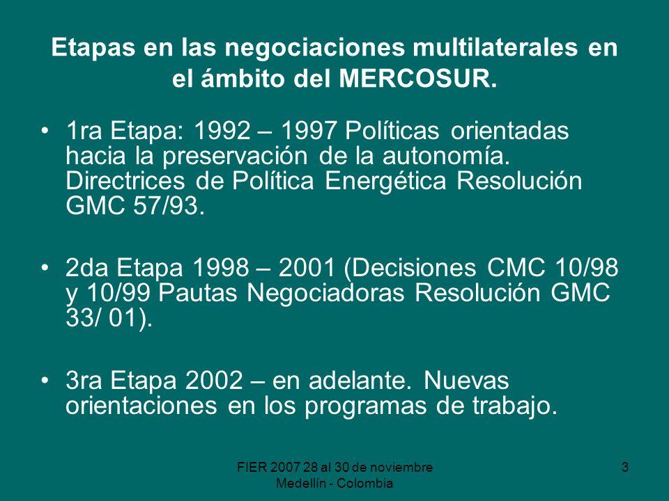 FIER 2007 28 al 30 de noviembre Medellín - Colombia 4 Etapa I La preservación de la autonomía en las decisiones Implícita consideración del rol de las empresas públicas energéticas