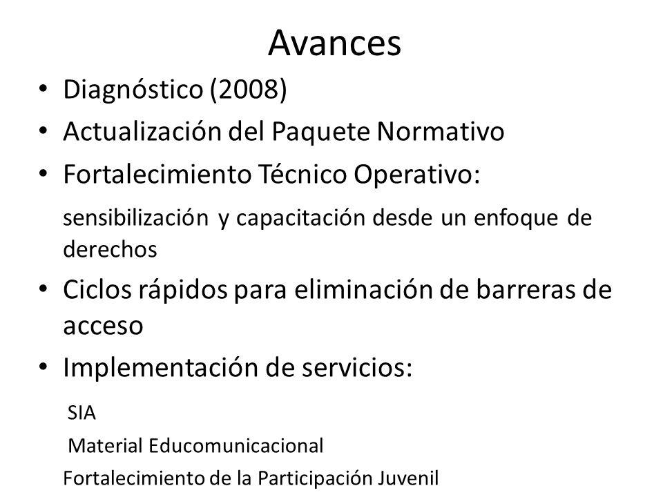 Avances Diagnóstico (2008) Actualización del Paquete Normativo Fortalecimiento Técnico Operativo: sensibilización y capacitación desde un enfoque de d