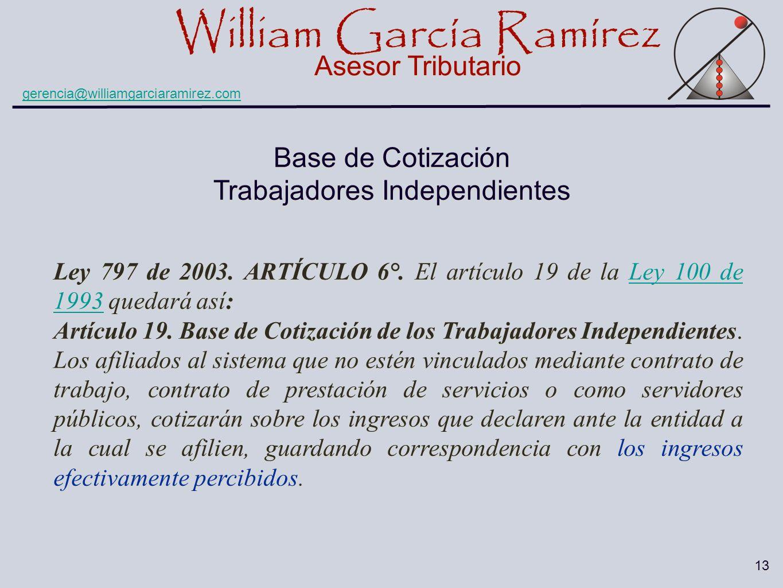 William García Ramírez Asesor Tributario William García Ramírez Asesor Tributario gerencia@williamgarciaramirez.com 13 Base de Cotización Trabajadores