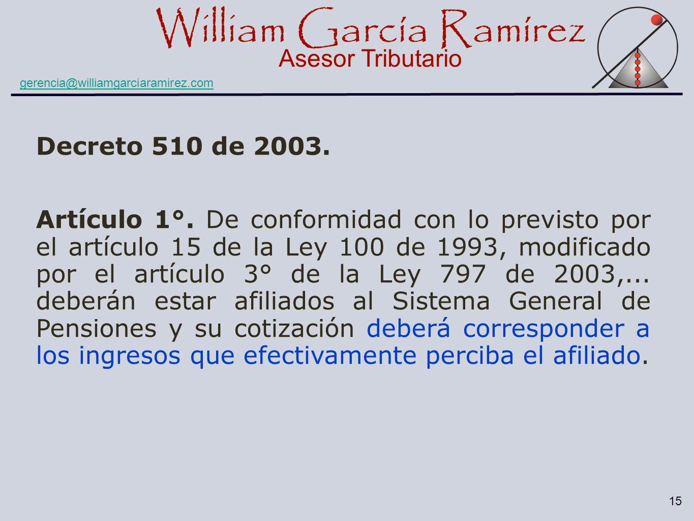 William García Ramírez Asesor Tributario William García Ramírez Asesor Tributario gerencia@williamgarciaramirez.com 15 Decreto 510 de 2003. Artículo 1