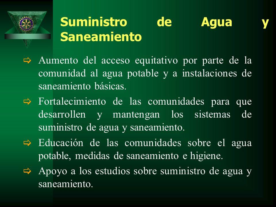 Suministro de Agua y Saneamiento Aumento del acceso equitativo por parte de la comunidad al agua potable y a instalaciones de saneamiento básicas.