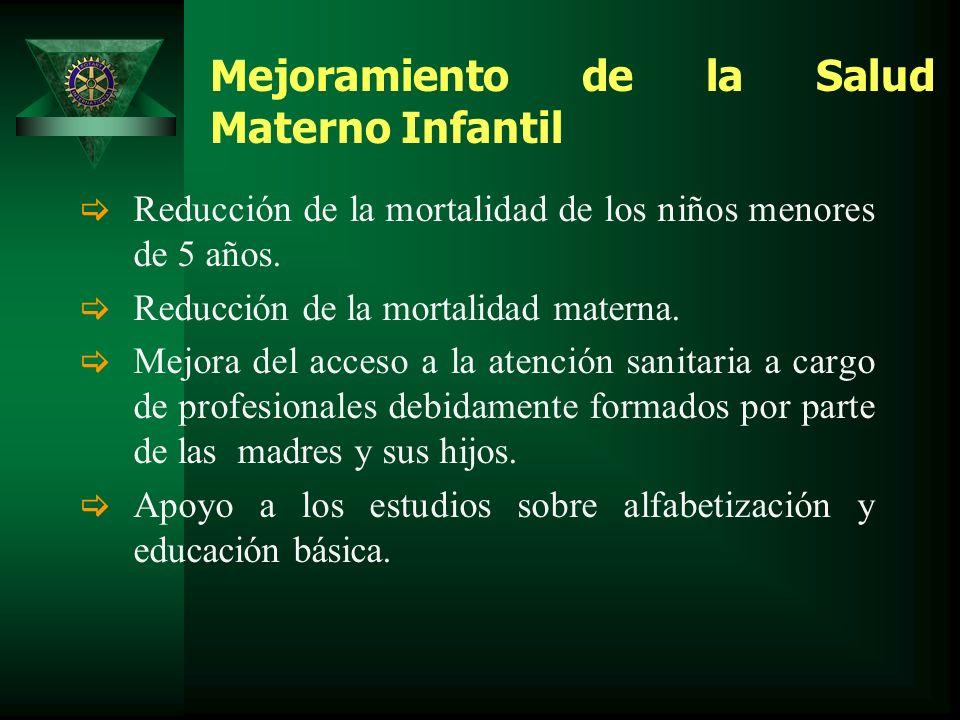 Mejoramiento de la Salud Materno Infantil Reducción de la mortalidad de los niños menores de 5 años.