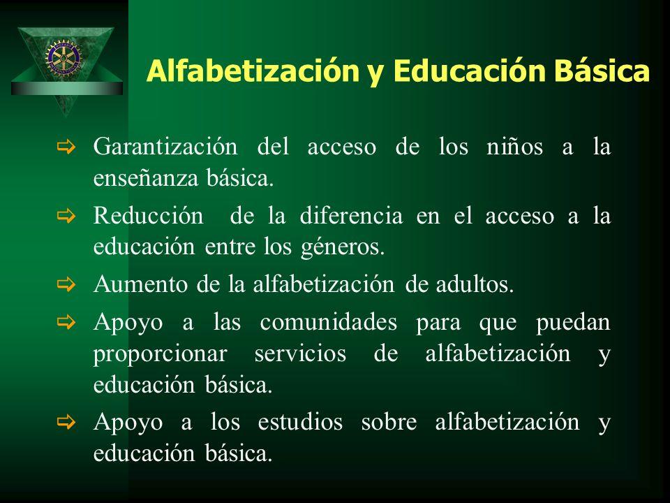 Alfabetización y Educación Básica Garantización del acceso de los niños a la enseñanza básica.