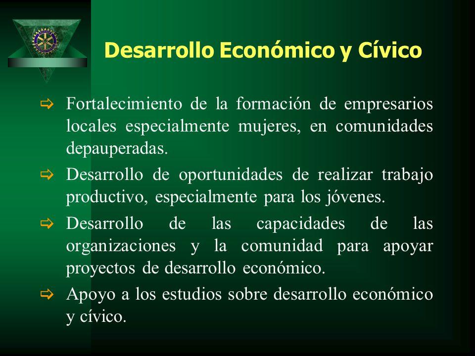 Desarrollo Económico y Cívico Fortalecimiento de la formación de empresarios locales especialmente mujeres, en comunidades depauperadas.