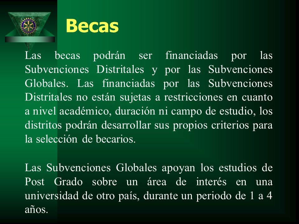 Becas Las becas podrán ser financiadas por las Subvenciones Distritales y por las Subvenciones Globales.