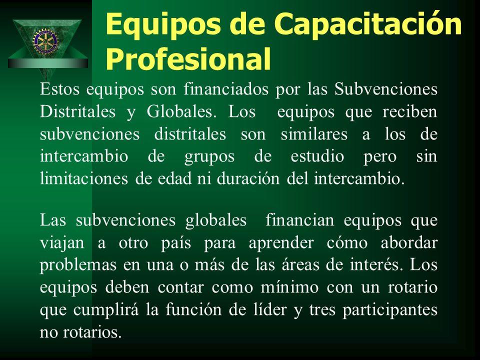 Equipos de Capacitación Profesional Estos equipos son financiados por las Subvenciones Distritales y Globales.