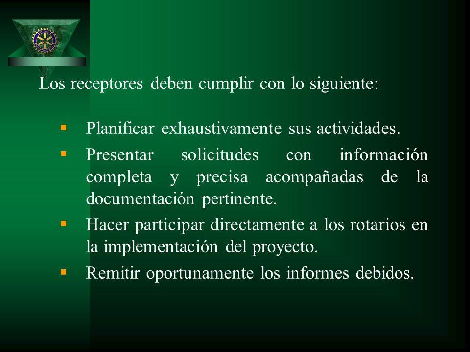 Los receptores deben cumplir con lo siguiente: Planificar exhaustivamente sus actividades.