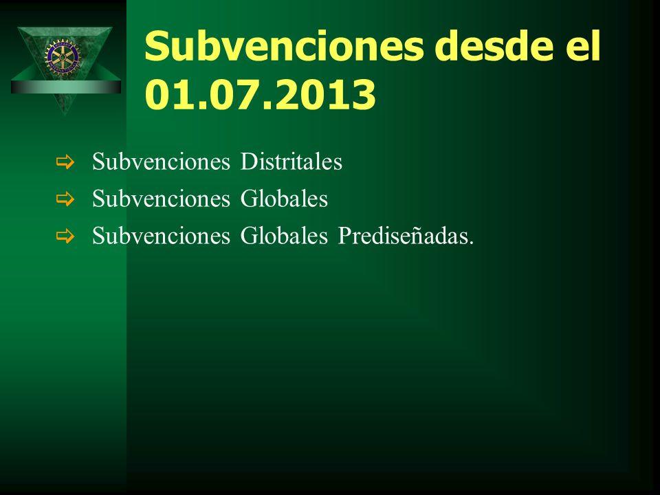 Subvenciones desde el 01.07.2013 Subvenciones Distritales Subvenciones Globales Subvenciones Globales Prediseñadas.