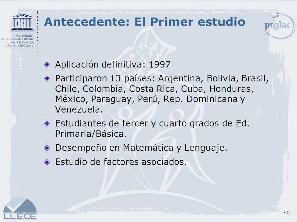 12 Antecedente: El Primer estudio Aplicación definitiva: 1997 Participaron 13 países: Argentina, Bolivia, Brasil, Chile, Colombia, Costa Rica, Cuba, H