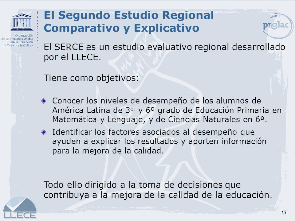 13 El Segundo Estudio Regional Comparativo y Explicativo El SERCE es un estudio evaluativo regional desarrollado por el LLECE. Tiene como objetivos: C