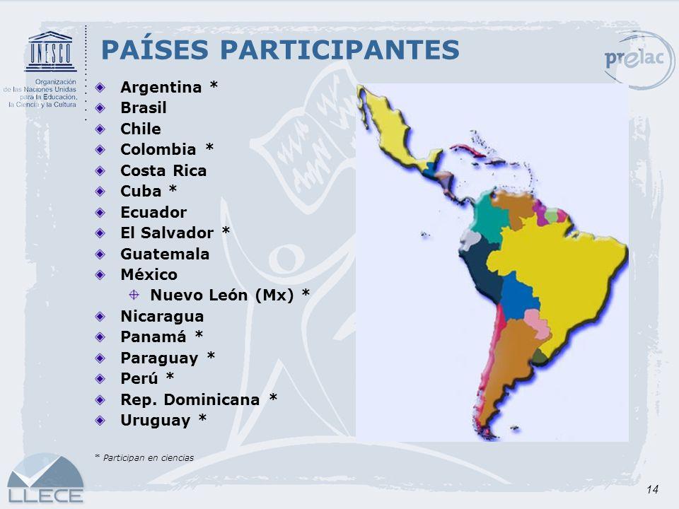 14 PAÍSES PARTICIPANTES Argentina * Brasil Chile Colombia * Costa Rica Cuba * Ecuador El Salvador * Guatemala México Nuevo León (Mx) * Nicaragua Panam