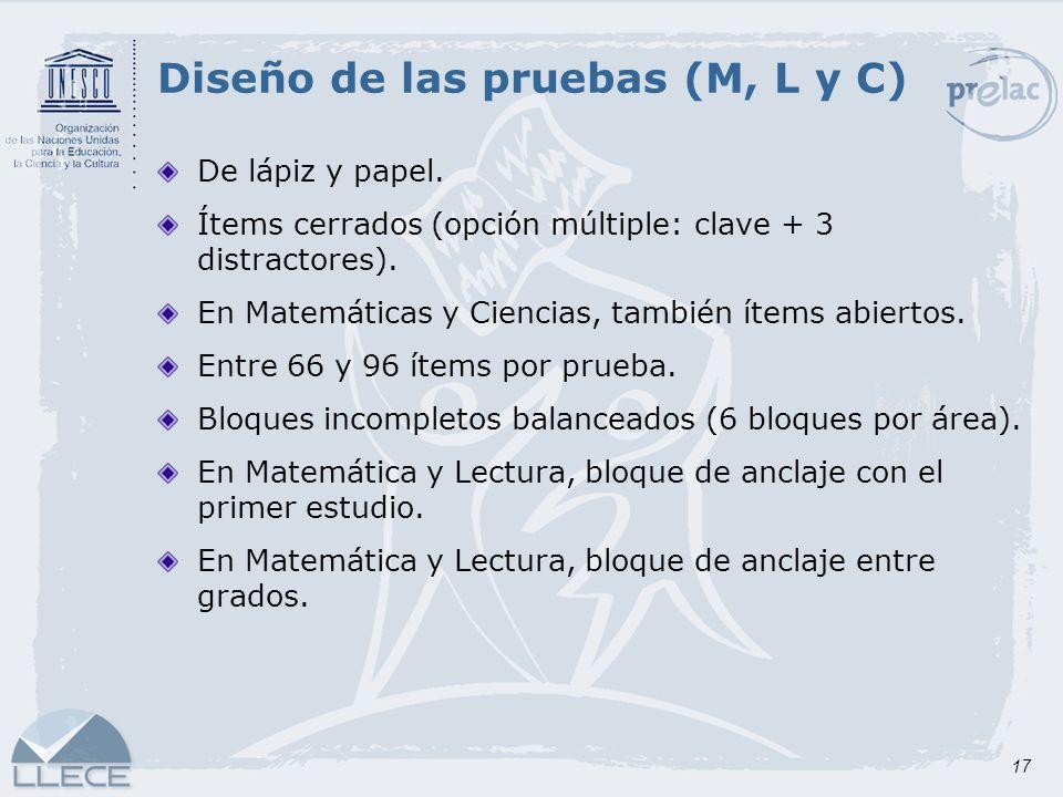 17 Diseño de las pruebas (M, L y C) De lápiz y papel. Ítems cerrados (opción múltiple: clave + 3 distractores). En Matemáticas y Ciencias, también íte