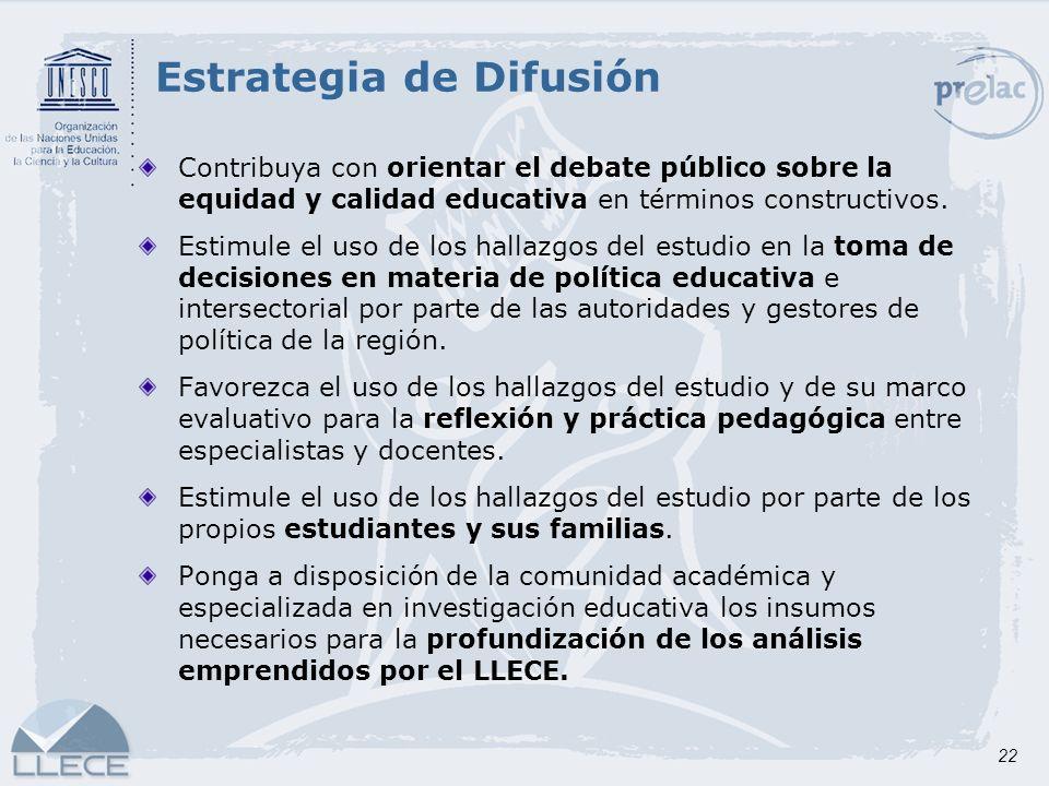 22 Estrategia de Difusión Contribuya con orientar el debate público sobre la equidad y calidad educativa en términos constructivos. Estimule el uso de