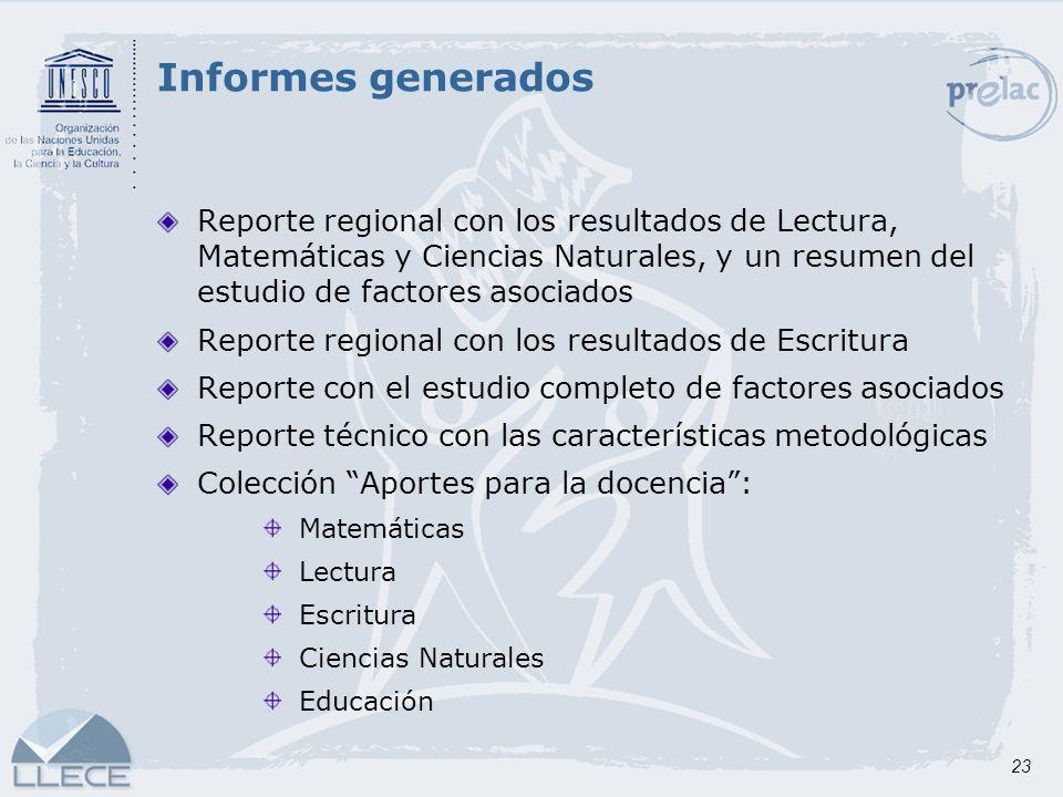 23 Reporte regional con los resultados de Lectura, Matemáticas y Ciencias Naturales, y un resumen del estudio de factores asociados Reporte regional c